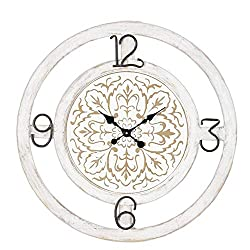 Sullivans Large Shabby Chic Wooden Wall Clock with Floral Damask Pattern