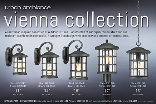 Luxury Craftsman Outdoor Post Light, Medium Size: 17.25''H x 10''W, with Tudor Style Elements, Wrought Iron Design, Natural Black Finish and Seeded Glass, UQL1046 by Urban Ambiance by Urban Ambiance (Image #5)
