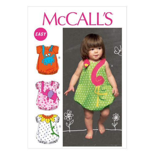 McCall Pattern Company M6726 Infants' Rompers Sewing Template, Size YA5 in One Envelope