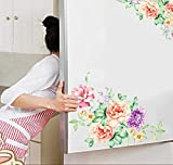 Boddenly Refrigerator Full Door Cover Decal Vinyl Removable Sticker Kitchen Art Decor Flower, Dining Room Wall Stickers Kitchen Wall Decal DIY Home Decor Wall Decorations