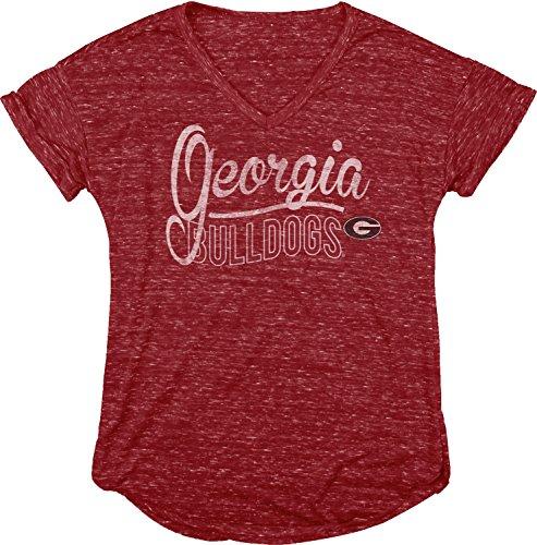 NCAA Georgia Bulldogs Women's Dark Confetti V-Neck Tee, Red, Medium -
