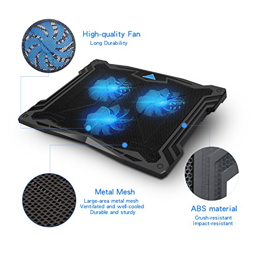 Tenswall 13''-17'' Laptop Cooling Pad with 3 Ultra-quiet Blue LED Fans, Slim Portable USB Powered Chill Mat Cooler Stand (Black) by Tenswall (Image #4)