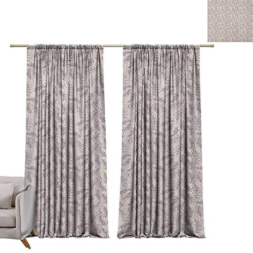 (Adjustable Tie Up Shade Rod Pocket Curtain Leaves,Sketch Foliage Pattern with Victorian Inspirations Antique Motif of Medieval Period, Taupe Beige W96 x L96 Blackout Draperies for Bedroom Kitchen )