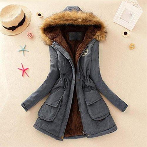 Manteau Militaire chaud Style femme avec Gris capuche FNKDOR parka fourrure hiver 8Zd8qw