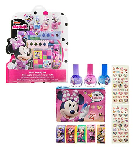 Mozlly Value Pack - Disney Junior Minnie Mouse Bowtique Beauty Set and Cosmetic Nail Polish and Stickers - Includes 3 Nail Polishes, Bag, Stickers and Glitter Tattoos - Childrens Make Up (2 Items)