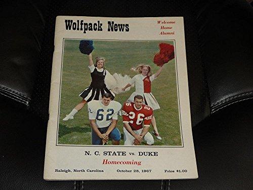 1967 DUKE AT NC STATE COLLEGE FOOTBALL PROGRAM EX
