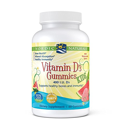 Nordic Naturals Vitamin D3 Gummies - Chewable Vitamin D Gummy For Kids, 400 IU of Vitamin D Supports Immune System, Mood, Sleep and More, Watermelon Flavor, 60 Count