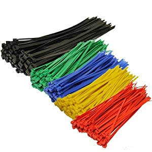 Topzone Assorted Color Nylon Cable Zip Ties Self Locking, 250-Piece