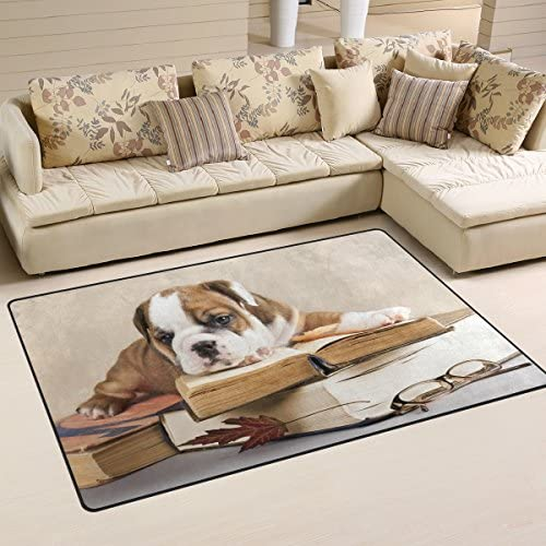 WOZO Sad Purebred English Bulldog Puppy and Book Area Rug Rugs Non-Slip Floor Mat Doormat