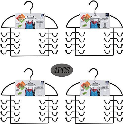 Combo Hanger Pack (YANQINQIN 4 piece Black Metal Tank Top and Legging Hanger Combo Pack Sport Tank Top Cami Bra Strappy Dress Bathing Suit Closet Organizer Hangers)