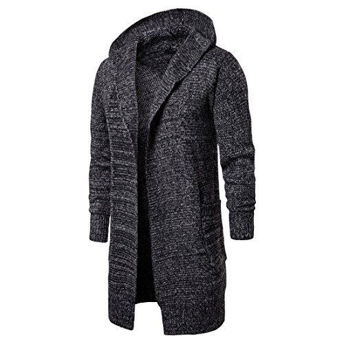 VICALLED Men's Long Cardigan Sweater Hooded Knit Slim Fit Open Front Longline Cardigans with Pockets Dark Grey