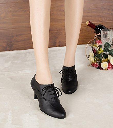 Dance Black Fashion Shoes MINITOO Wedding Ladies up Latin 4 Lace Leather Taogo Ballroom TH159 UK Pumps nqnfFwUg