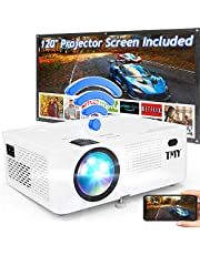 $119 » TMY WiFi Projector with 120″ Screen, [200 ANSI - Over 7500 Lux Brightness], 1080P Full HD Enhanced Projector, Portable Projector Compatible with TV Stick HDMI USB for Home Cinema & Outdoor Movies.