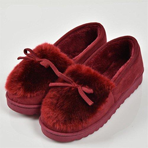 Morbido Pantofole Cotone Autunno Peluche Pantofola Fiocco Super Indoor E Donna Caldo Casual Inverno Mhgao Red xq8wFpTp
