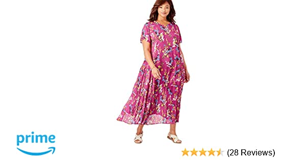 41793c5f4325a Woman Within Plus Size Petite Crinkle Dress at Amazon Women s Clothing  store  Plus Size Petites