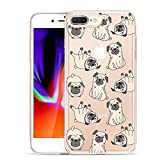 Unov Compatible Case Clear with Design Embossed Pattern TPU Soft Bumper Shock Absorption Slim Protective Cover for iPhone 7 Plus iPhone 8 Plus 5.5 Inch(Pug Dog)