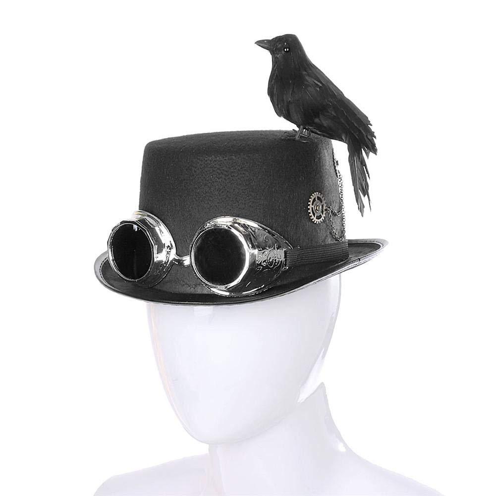 RecoverLOVE Halloween Cosplay Cap Props Adulte Unisexe Gothique R/étro Steampunk Vintage Haut De Laine Chapeau avec Crow Cosplay Cap Props pour la Partie avec des Lunettes d/étachables