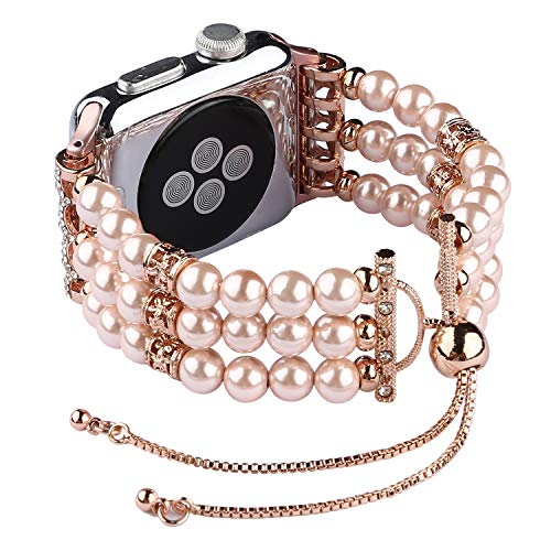 (Compatible with Apple Watch Bands 38mm 42mm, Adjustable Elastic Pearl Pendant and Tassel Wrist Belt Bracelet Compatible for iWatch Series 3 Series 2 Series 1 Sport and Edition (Rose Pink Pearl, 42mm))