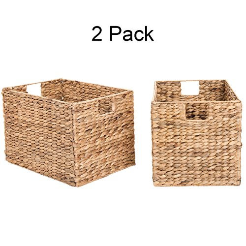 Decorative Hand-Woven Water Hyacinth Wicker Storage Baskets, Set of Two 16x11x11 Baskets Perfect for Shelving Units