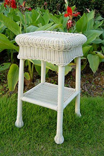 International Caravan 3160-WT-IC Furniture Piece Small Pvc Resin Side Table, White - Contemporary Resin Side Table