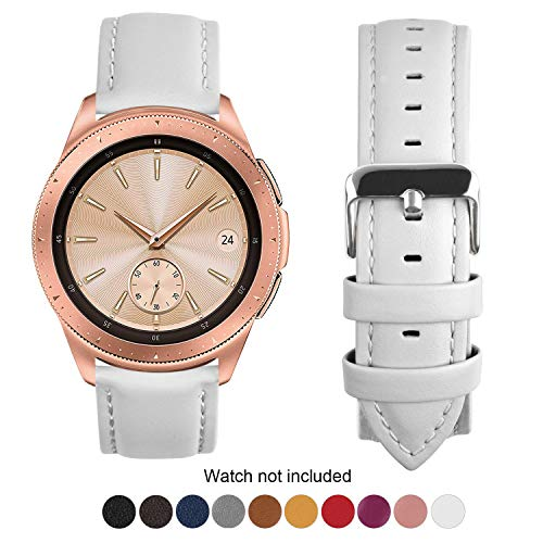 Fullmosa Compatible Samsung Gear S3 Frontier/Classic Watch Bands, Quick Release Leather Watch Band for Gear S3 Bands/Moto 360 2nd Gen 46mm 22mm Watch Band, White + Silver Buckle