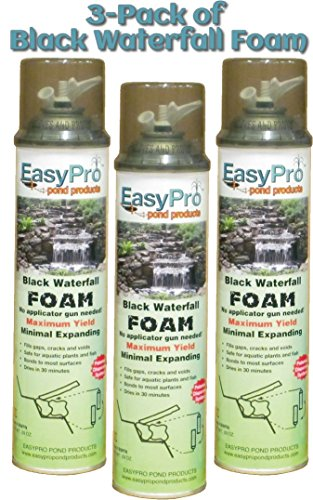 Black Pond Foam (3-Pack of EasyPro Black Expandable Waterfall Foam Ready to use 20 oz Cans)