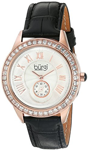 Burgi Women's BUR144BK Rose Gold Quartz Watch With Silver Dial and Swarovski Crystal Accented Bezel And Black Leather - Womens Heart Burgi