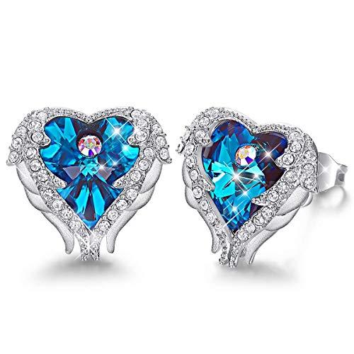 Caperci Angel Wings Blue Heart Swarovski Crystal Stud Earrings for Women Gilrs, Mother's Day Jewelry Gift