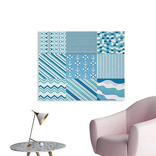 (Baby Shower Nautical Dots Stripes Funny Poster Zig Zag Chevron Wavy Anchor Life Belt Geometric Wall Paper Teal Turquoise Blue W28 xL20)