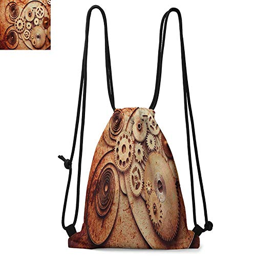 Vintage Durable Drawstring Backpack Mechanical Clocks Details Old Rusty Look Backdrop Gears Steampunk DesignSuitable for carrying around W17.3 x L13.4 Inch Dark Orange Beige