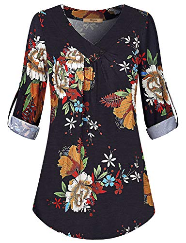 Miusey Zulily Tunics for Women,Female Casual Cuffed Sleeve Designing Blouse Retro Plus Floral Print Youth Flowered Draped Flutter Shift Top Regular Work Clothes Daily Wear Black L