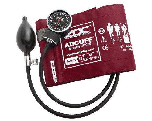 ADC Diagnostix 720 Pocket Aneroid Sphygmomanometer with Adcuff Nylon Blood Pressure Cuff, Adult, Burgundy