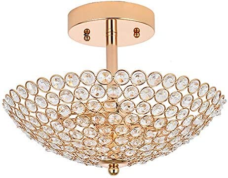POPILION Elegant 2 Light Bowl Shaped French Gold Metal Crystal Chandelier,Flush Mount Ceiling Light Fixture