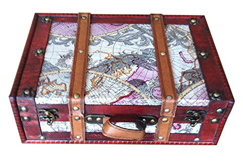 (Replica vintage-style World Map Decorative wooden suitcase (HF 004B))