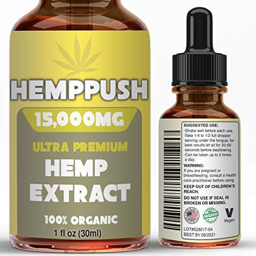 Hemp Oil for Anxiety Relief/Pain/Sleep Support (15,000 mg/30 ml), Organic Hemp Oil-Best Herbal Supplement-Tincture Oil…