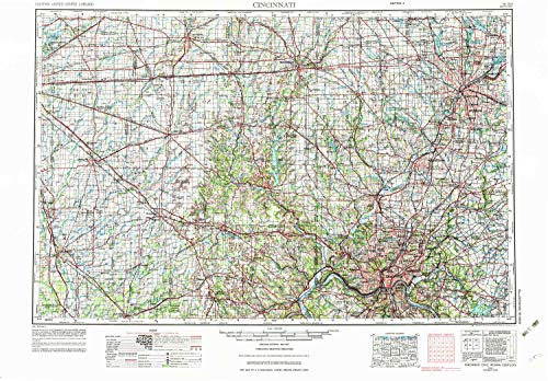 Clear Crystal Astoria (YellowMaps Cincinnati OH topo map, 1:250000 Scale, 1 X 2 Degree, Historical, 1953, Updated 1976, 22.2 x 32.1 in - Paper)