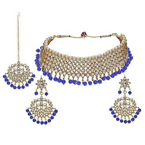 I Jewels Indian Gold Plated Traditional Kundan Choker Ethnic Bollywood Designer Stylish Party Wear Jewelry Set with Earrings & Maang Tikka for Women (K7075Bl)