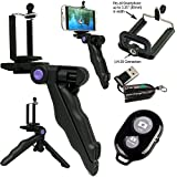 ChargerCity Selfie Photo Booth Kit w/Handheld Pistol Grip Tripod Bluetooth Remote & Smartphone holder for Apple iphone X 8 7 Plus 6s Samsung Galaxy S8 S9 Note w/Free Micro SD Memory Card Reader