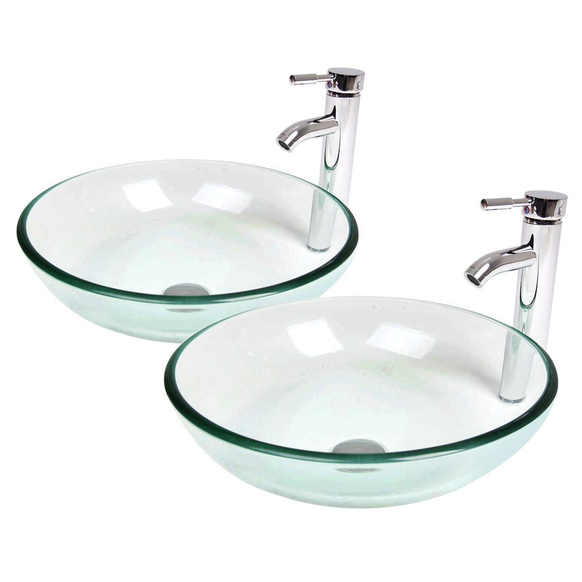PULUOMIS Glass Bathroom Clear Vessel Sink with Faucet,Set of 2