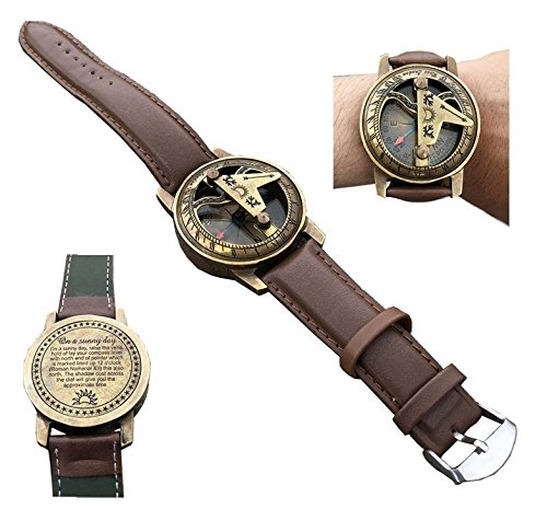 A S Handicrafts Antique Steampunk Brass Wrist Watch Sundial Compass