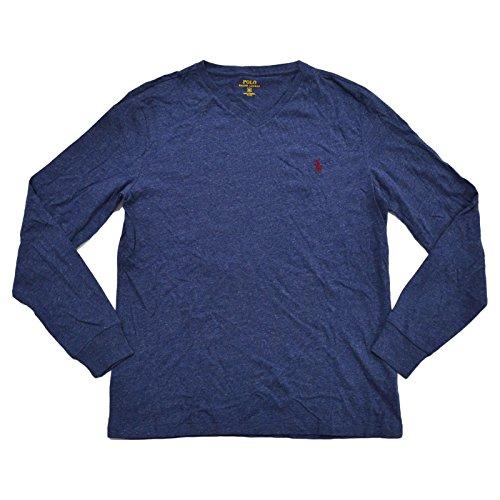 Polo Ralph Lauren V-neck T-shirt Mens Long Sleeve Classic Fit (L, Heather Blue) (Top Lauren Polo Ralph)
