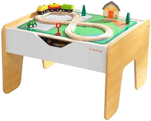 KidKraft - Mesa de madera 2 en 1 circuito de tren y construcci�n ...