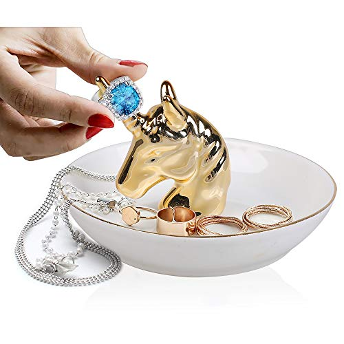 Unicorn Ring Holder Dish for Jewelry, Ceramic Jewelry Organizer Display for Dressing Table Decor and Birthday Wedding Festival Gifts for Mom, Aunt, Daughter, Friends, Girlfriend Gold Unicorn