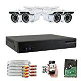GW Security 8-Channel HD-TVI 1080P Complete Security System with (4) x True HD 1080P Outdoor/Indoor Bullet Security Cameras and 1TB HDD, QR Code Scan Free Remote View