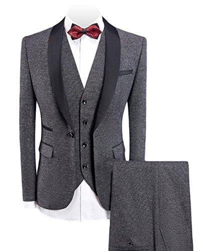 Fitty Lell Men's 3-Pieces Suit Shawl Lapel One Button Blazer Vested Dress Suit Set Groom Tuxedo(36 (1 Button Shawl)