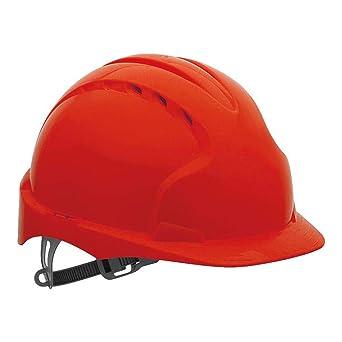 JSP AJF030-000-600 EVO2® - Casco de seguridad con trinquete deslizante, con ventilación, color rojo: Amazon.es: Amazon.es