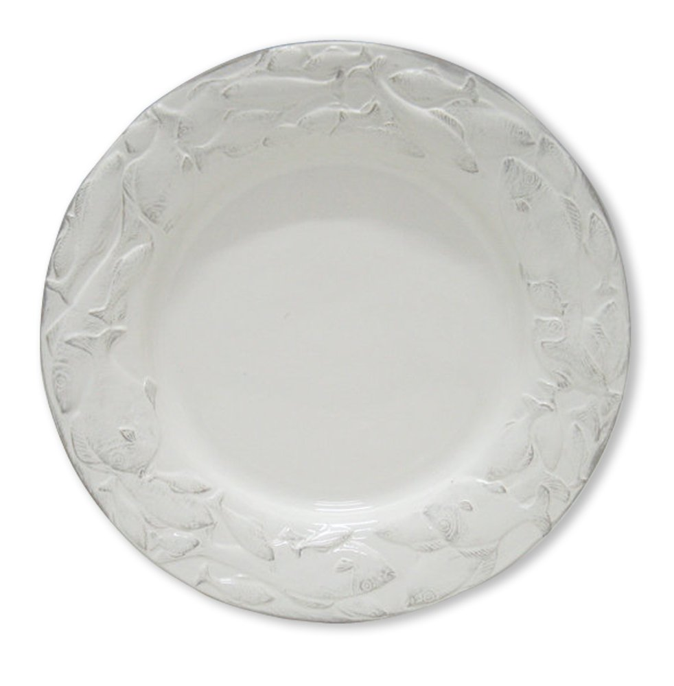 Blue Sky Ceramic Seashell Round Rimmed Plate, 12'', White by Blue Sky Ceramic