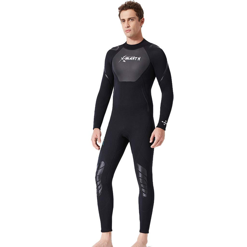 MILIMIEYIK Full Body Sport Rash Guard Dive Skin Suit for Swimming Snorkeling Diving Surfing Protection Long-Sleeve for Men Black