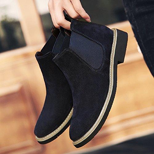 Hiver Bleu Homme Lily999 Chaudes Bottines Automne Foncé Classiques Chelsea Doublure Boots Vintage En SqqPB4wv