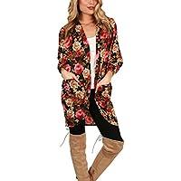 Outtop  Boho Floral de la mujer Imprimir Kimono chaqueta de punto, otoño Plus tamaño algodón Tops